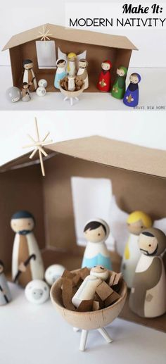 This DIY nativity set with wood peg dolls is budget friendly and not too kitschy. If you love modern, this scene is for you! So fun for kids, with a cute wood manger and cardboard stable. Really easy to do. diy and crafts projects Wooden Nativity Sets, Nativity Stable, Nativity Crafts, Christmas Nativity, Christmas Bells, Modern Nativity Set, Kids Nativity Set, Nativity Peg Doll, Christmas Plays
