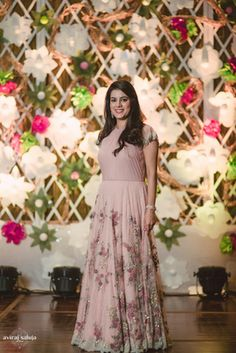 Cocktail Outfits - Aayush & Vriti | WedMeGood | Dusky Pink Gown with Silver Embroidery #wedmegood #indianbride #cocktailoutfit #duskypink #indianwedding #decor #DIY #floral