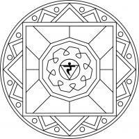 Mandala Manipura. Mandala para pintar enfocado en el tercer chakra. Imprimir.