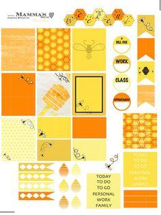 Honey Bee Weekly Sticker Set for Erin Condren Life Planner (Vertical), Plum Paper Planner, Inkwell Press Planner Decorating Kit