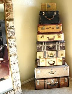 Love old suitcases...want in the corner of my dinning room