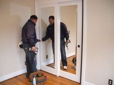 Solid Wood Sliding Mirrored Closet Doors...