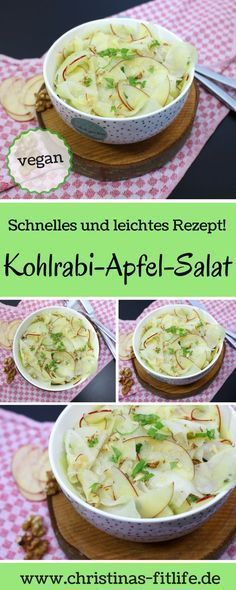 Vegan kohlrabi and apple salad -> quick and easy to prepare and really tasty! Vegan kohlrabi and apple salad -> quick and easy to prepare and really tasty! Clean Recipes, Raw Food Recipes, Salad Recipes, Chicken Recipes, Cooking On A Budget, Budget Meals, Budget Recipes, Vegetarian Recipes Dinner, Healthy Dinner Recipes