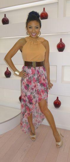 Blouse | Belt | Printed High-Low Skirt | (Jeannie Mai)