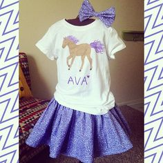 Painted Horse shirt with Purple twirl skirt and Bow <3