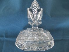 Vintage Art Deco Covered Clear Glass Trinket Jewelry Vanity Keepsake Box Collectible Glass Home Decor