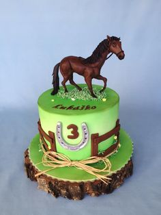 Horse cake by Layla A Horse Theme Birthday Party, Cowboy Birthday Cakes, Cowgirl Cakes, Western Cakes, 4th Birthday Cakes, Horse Party Decorations, Cake Paris, Dad Cake, Horse Cake