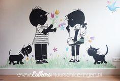 🖤 JIP EN JANNEKE... zijn ze leuk of niet? Een vrolijke muurschildering voor op de baby- of kinderkamer.