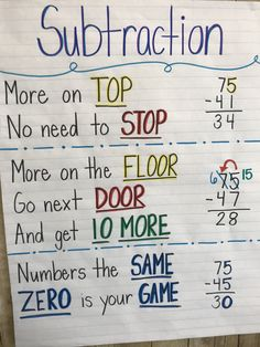 Subtraction tricks teaching math, teaching subtraction, teaching tips, maths tricks, math tips Math Anchor Charts, E Mc2, Math Help, 2nd Grade Math, 2nd Grade Rules, Grade 2, Second Grade, Math Lessons, Math Tips