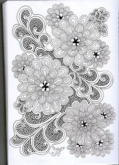 zentangle drawing ... fine line fills for floewer and sylized leaves ... beautiful in black and white ... Doodles Zentangles, Zentangle Drawings, Zentangle Patterns, Quilting Patterns, Seed Art, Doodle Art, Tangle Doodle, Zen Doodle, Colorful Drawings