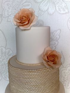 wedding cakes with pearls | Vintage Pearl & Rose Wedding Cake