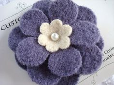 FELTED WOOL FLOWER Brooch Lavender Cream Blossom Pin Sweaters Up-cycled Recycled Re-purposed Sweater