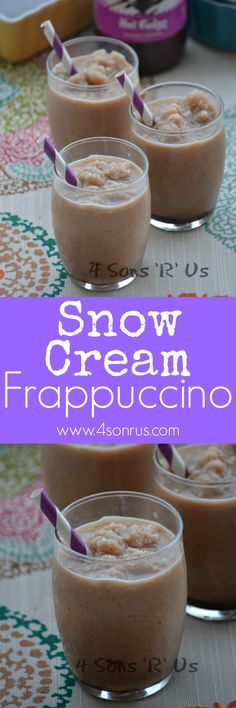 A rich and creamy, chocolaty coffee treat-- a Snow Cream Frappuccino will have parents' looking forward to fresh snow falls and snow days, almost as much as the kids are.