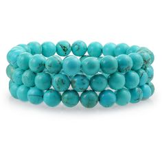 Set of 3 Stackable Gemstone Turquoise Bead Stretch Bracelet 8mm ($15) ❤ liked on Polyvore featuring jewelry, bracelets, aqua, beach jewelry, gemstone jewellery, stackers jewelry, beachy jewelry and stacked bangles