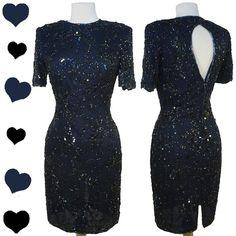 Vintage 80s Navy Beaded Sequin Dress XS S, $60.00