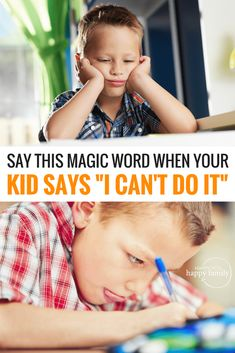 "What's the best parenting strategy when your kid gives up and says, ""I can't do it"" or ""I'm dumb"" or other negative self talk? Answering with positive affirmations doesn't work, but here's a simple ONE WORD response that will boost your child's confidence Kids And Parenting, Parenting Hacks, Parenting Classes, Natural Parenting, Parenting Quotes, Teaching Kids, Kids Learning, Elementary Teaching, Parents"