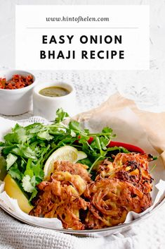 Make delicious onion bhajis at home from scratch with this simple recipe. Made with plain flour, spices and thinly sliced onions - crispy and sweet. Curry Recipes, Vegetarian Recipes, Cooking Recipes, Healthy Recipes, Vegan Meals, Onion Bhaji Recipes, Indian Food Recipes, Ethnic Recipes, Indian Snacks