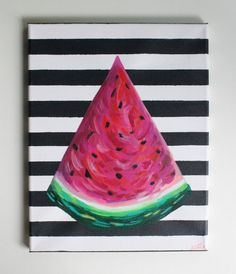 Watermelon Art Watermelon Painting Fruit Art Food by fiberandgloss