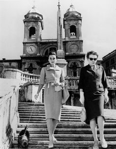 Audrey Hepburn with her mother in Rome