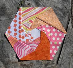 log cabin hexagon block for Lynne by Cut To Pieces