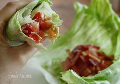 BLT Lettuce wraps:        4 slices lean bacon (pork or turkey) cooked and chopped      1 medium tomato, diced      1 tbsp light mayonnaise (I like Hellman's)      3 large iceberg lettuce leaves      fresh cracked pepper