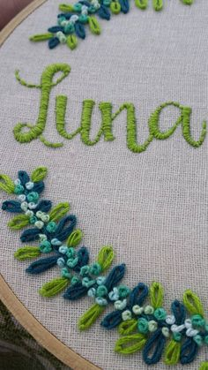 Hand Embroidery. Hoop Art. Name. by LadyJaneLongstitches on Etsy