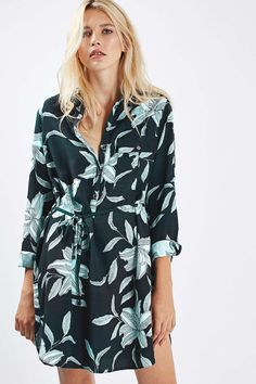PETITE Leaf Printed Shirt Dress
