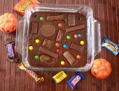 Trick or Treat Brownie Recipe--use up the left over Halloween candy in a quick and serve-able way.