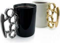 Brass knuckle coffee cup---FOR THE MOB GUY IN YOUR FAMILY