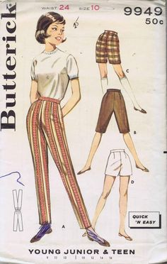 Butterick Pattern 9949 for slacks in 1960s. Found by Yahoo search.