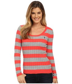U.S. POLO ASSN. Stripe Cable Knit Scoop Neck Pullover Campanula Marsh - 6pm.com