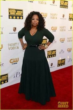Oprah Winfrey - Critics' Choice Movie Awards 2014 Red Carpet: Photo Oprah Winfrey hits the red carpet in her sunglasses at the 2014 Critics' Choice Movie Awards held at Barker Hanger on Thursday (January in Santa Monica, Calif. Oprah Winfrey, Critic Choice Awards, Critics Choice, Alaia Dress, Peplum Dress, Queen, Celebs, Celebrities, Swagg