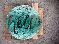 This gave me the idea of a string art wreath! hello String Art Typography in a Circle Hand by kimberlygeer String Art Diy, String Crafts, Deco Dyi, Crafts To Do, Arts And Crafts, Thread Art, Crafty Craft, Crafting, Diy Wall Decor