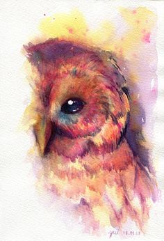 The Owl ORIGINAL watercolor painting 75x11 by WaysideBoutique... If only I could master watercolor like this