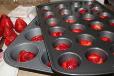 Punch Bowl Ice Cubes - freeze fruit with water, club soda, or Sprite in muffin pans to use as large & colorful ice cubes!