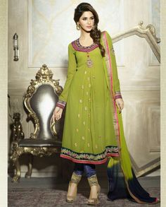 Green anarkali suit   1. Green georgette suit2. Golden thread embroidered motif all over3. Thread embroidered border on bottem4. Comes with matching bottom and dupatta5. Can be stitched upto size 42  inches