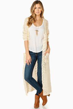 ShopSosie Style : Nahla Duster Cardigan in Cream