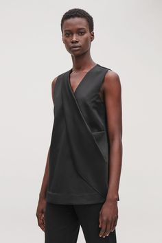 Smooth Asymmetric-Drape Top | Endource Holiday Dresses, Summer Dresses, Cos Shirt, Cos Tops, White Shirts, Black Tops, Man Shop, Model, How To Wear