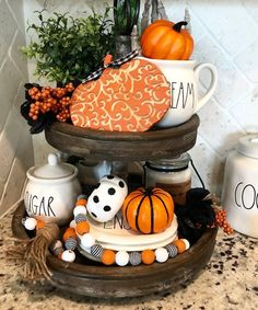 Ways To Decorate Your Tiered Tray For Halloween These trendy DIY and Craft ideas would gain you amazing compliments. Check out our gallery for more ideas these are trendy this year. Farmhouse Halloween, Halloween Home Decor, Fall Home Decor, Autumn Home, Fall Halloween, Halloween Decorations, Fall Decorations, Fall Entryway Decor, Halloween Tips