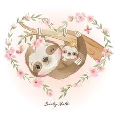 Illustration Mignonne, Cute Illustration, Watercolor Flower Background, Floral Watercolor, Art Drawings For Kids, Cute Drawings, Doodles Bonitos, Art Mignon, Cute Sloth