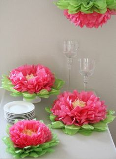 Girls Party Decorations - Set of 7 Pink Tissue Paper Flowers
