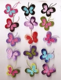 mariposas mariposas tejidas para aplicaciones hilo perle clea tejido a crochet,almidonado