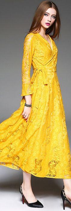 Blazing Yellow Lace V Neck Dress