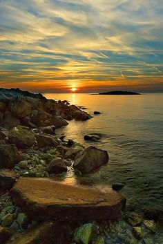 Sunset at Otok Sv. Nikola, Porec, Croatia by Jon Read
