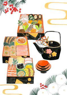 おせち料理 | Natsuko Imai illustration
