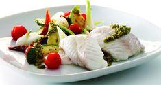 Torsk med pesto | Opskrift på ovnbagt torsk med pesto og lunt brød