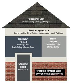 Discover 6 exterior paint color combos for your house and how to pick them for an existing home or new build For this house Benjamin Moore Classic Gray for the trim Hale. House Exterior Color Schemes, Exterior Paint Colors For House, Paint Colors For Home, Navy House Exterior, Exterior Siding, Outdoor House Colors, Outside House Paint Colors, Exterior Design, Outdoor House Paint