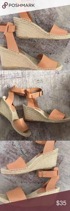J. Crew Corsica Espadrille Wedges Worn twice out. Good condition only signs of wear are on soles and some slight discoloration of jute and leather not noticeable when wearing though.  PRODUCT DETAILS These pretty (made-in-Spain!) espadrilles in metallic suede are practically begging you to book a beach trip.  Suede upper. Leather lining. Rubber and jute sole. J. Crew Shoes Espadrilles