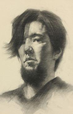Akira Beard - Self Portrait (charcoal on newsprint)