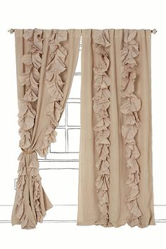 make your own expensive looking ruffled curtains using $4 flat